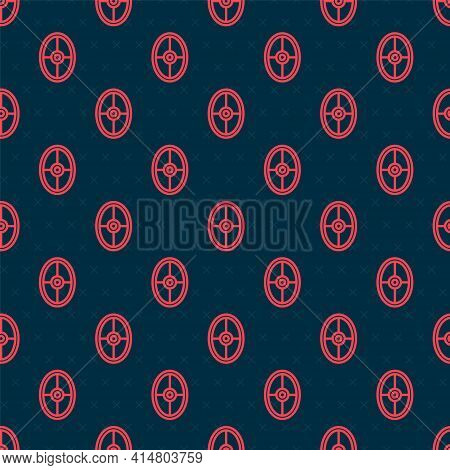 Red Line Greek Shield With Greek Ornament Icon Isolated Seamless Pattern On Black Background. Vector
