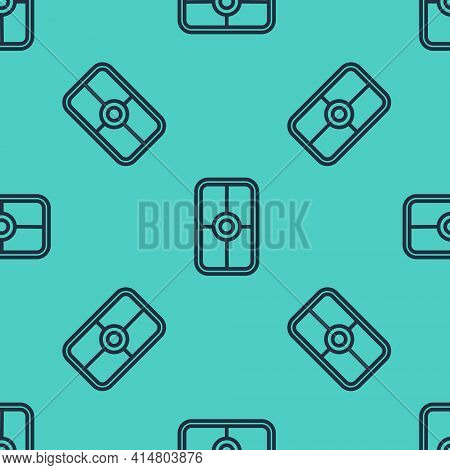 Black Line Greek Shield With Greek Ornament Icon Isolated Seamless Pattern On Green Background. Vect