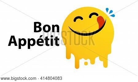 Bon Appetit, Yummy Face Happy Smile Vector Cartoon Line Emoticon With Tongue Lick Mouth. Delicious T