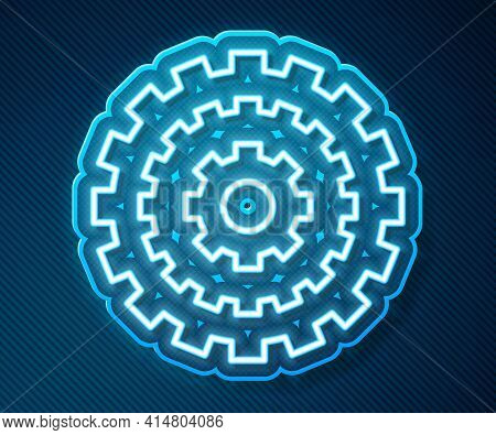 Glowing Neon Line Bicycle Cassette Mountain Bike Icon Isolated On Blue Background. Rear Bicycle Spro