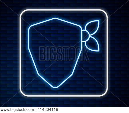 Glowing Neon Line Vandal Icon Isolated On Brick Wall Background. Vector