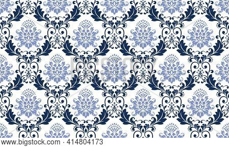 Floral Pattern. Vintage Wallpaper In The Baroque Style. Seamless Vector Background. Black And Blue O