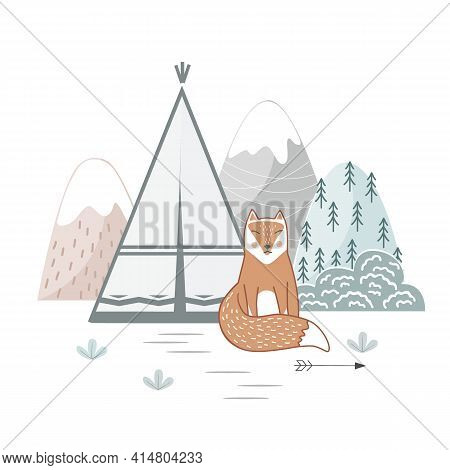 Cute Hand Drawn Nursery Poster With Wild Cartoon Tribal Landscape And Fox In Scandinavian Style. Vec