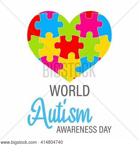 Heart Shape From Puzzle Pieces. Colorful Heart Puzzle Game. A Symbol Of Autism Awareness. Autism Spe