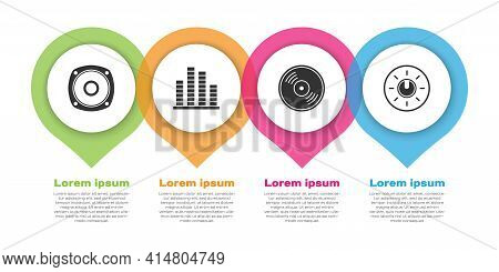 Set Stereo Speaker, Music Equalizer, Vinyl Disk And Dial Knob Level Technology Settings. Business In