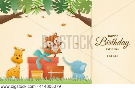 Cartoon Happy Birthday Animals Card. Greeting Cards With Cute Safari Or Jungle Animals With Gift Box