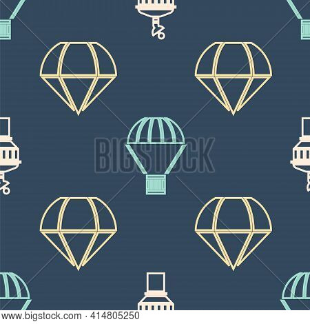 Set Isometric Radar, Parachute And Box Flying On Parachute Icon. Vector