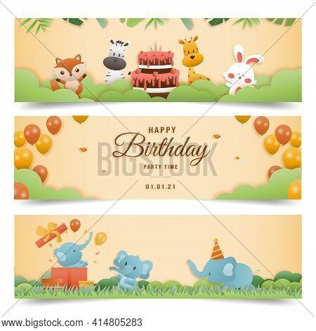 Invitation Birthday Greeting Card With A Cute Animal. Jungle Animals Celebrate Children\'s Birthday