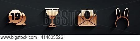 Set Speech Bubble With Happy Easter, Christian Chalice, Greeting Card With Happy Easter And Mask Wit