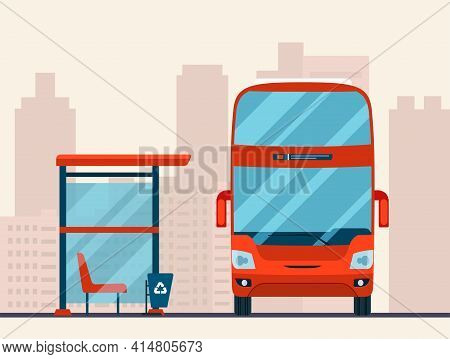 Double-decker Bus And Bus Stop On Abstract Cityscape Background. Vector Flat Illustration.