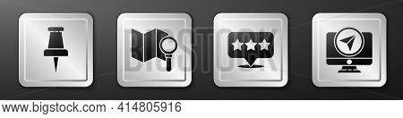 Set Push Pin, Search Location, Map Pointer With Star And Monitor With Location Marker Icon. Silver S