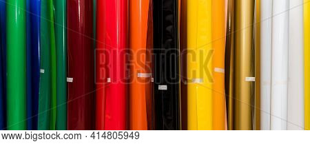 Colored Vinyl Car Wrapping Or Plotter Cutting Sticker Foil Film Rolls. Film In Rolls For Advertising