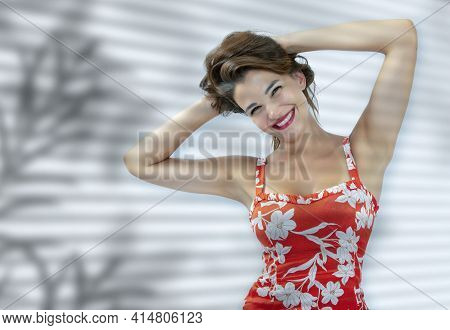 Caucasian Woman, 30-35 Years Old, Smiling With Her Hands Behind Her Head, Gathering Her Hair, Receiv