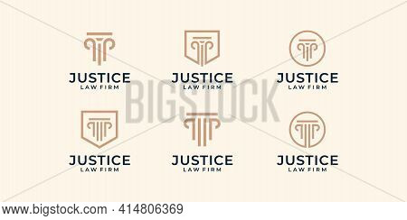 Set Of Modern Law Firm Justice Logo Design Vector Graphic Template. Logo Can Be Used For Icon, Brand