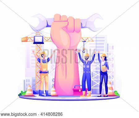 Happy Labour Day. Construction Workers With Raised Up Giant Arm Fist Celebrate Labour Day On 1 May.
