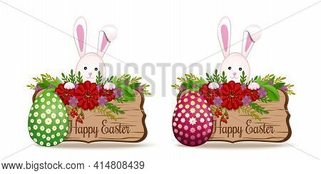 Easter Banners Set With Easter Bunny And Easter Egg. Cute Bunny Wishes Happy Easter. Vector Illustra
