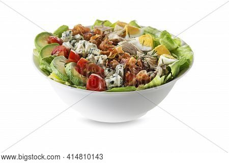 Salad Filled With Crispy Bacon, Hard-boiled Eggs, Chicken Breast, Crumbled Blue Cheese, Cherry Tomat