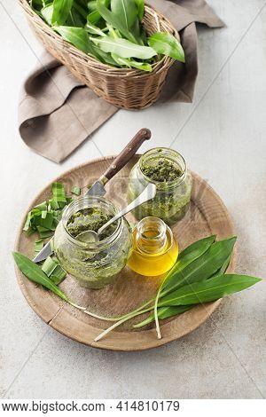 Making Fresh Ramson Or Wild Garlic Pesto. Healthy Spring Food Concept