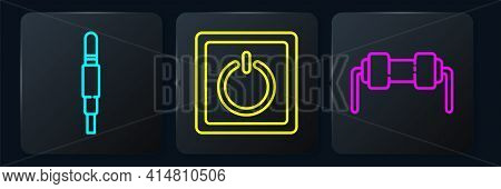Set Line Audio Jack, Resistor Electricity And Electric Light Switch. Black Square Button. Vector