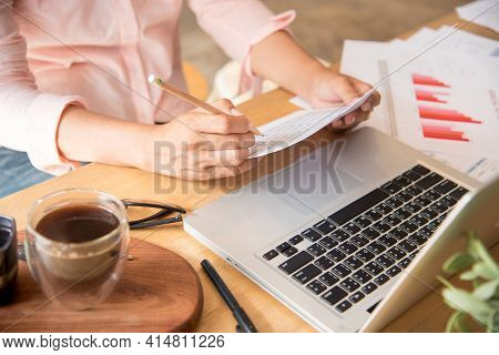 Woman Working Business Office Desk Using Laptop Work From Home. Businesswoman Looking Financial Busi