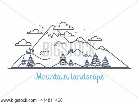 Mountain Landscape - Linear Vector Simple Illustration On White Background Simple Linear Illustratio