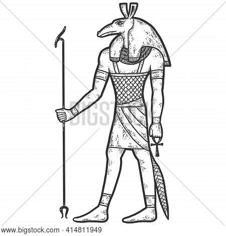 Set, Deity. God Of Egypt. Sketch Scratch Board Imitation. Black And White.
