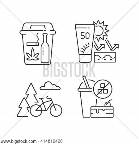 Healthy Habits Linear Icons Set. Quit Bad Habits. Skin Protection. Outdoor Activity. Change Lifestyl