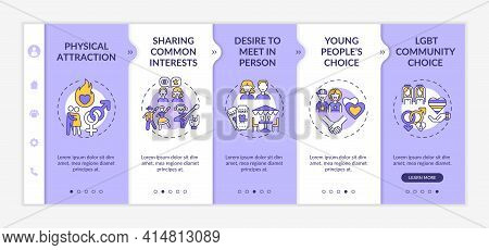 Online Dating Reasons Onboarding Vector Template. Responsive Mobile Website With Icons. Web Page Wal