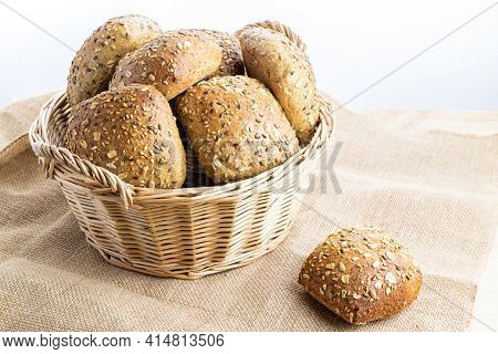 Freshly Baked Bread. Fresh Loaf Of Rustic Traditional Bread With Wheat Grain Ear Or Spike Plant On L