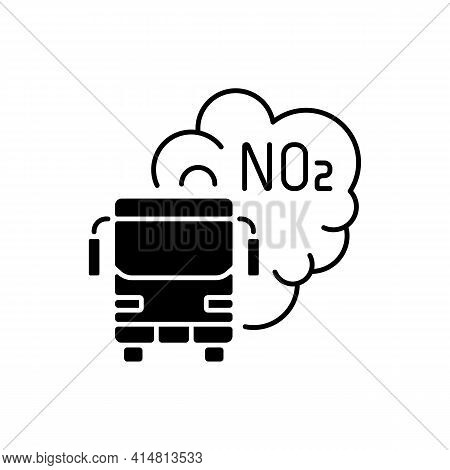 Trucks And Buses Black Linear Icon. Main Source Of Nitrogen Dioxide Resulting From Combustion Of Fos