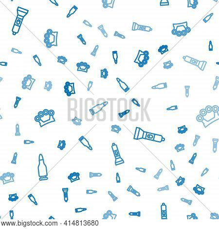 Set Line Bullet, Flashlight And Brass Knuckles On Seamless Pattern. Vector