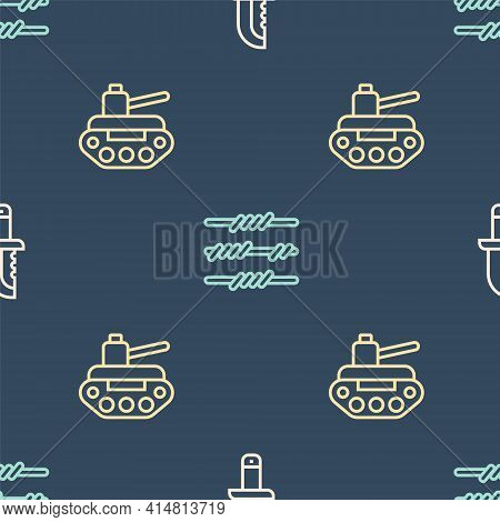 Set Line Military Knife, Tank And Barbed Wire On Seamless Pattern. Vector