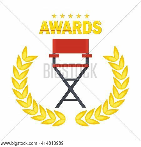 Film Directors Chair With Laurel Wreath. Producer, Director And Screenwriter