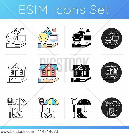 Insurance And Protection Icons Set. Covering Accident Expenses. Personal Belonging Protection. Wage