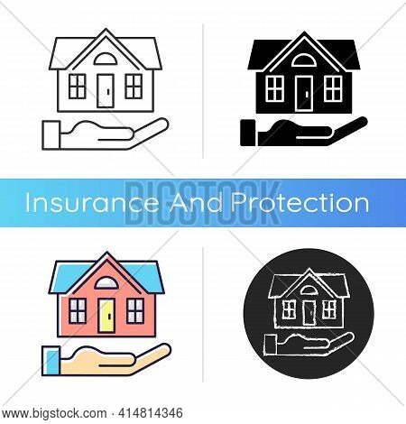 Home Insurance Icon. Insured Event. Covering Accident Expenses For Repairing, Rebuilding House. Home