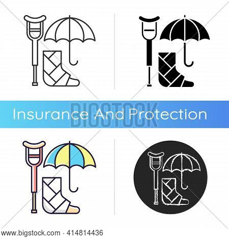 Disability Insurance Icon. Wage Replacement For Disabled Employee. Adequate Health Coverage. Coverin