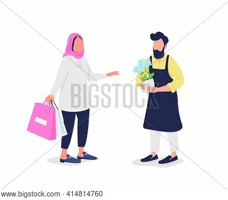 Muslim Woman Buying Flowers From Florist Flat Color Vector Faceless Characters