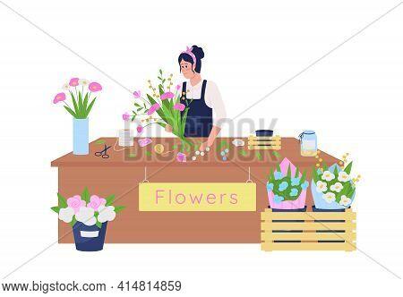 Female Caucasian Florist Making Floral Arrangement Flat Color Vector Detailed Character