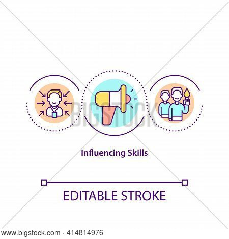Influencing Skills Concept Icon. Effective Leadership. Authority In Business. Teamwork In Problem So
