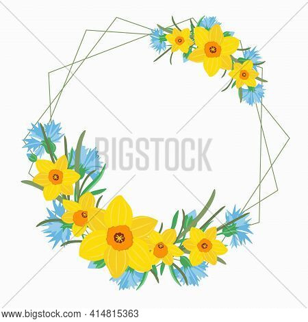 Frame With Spring Flowers. A Circular Wreath With Yellow Daffodils And Blue Cornflowers. Template Fo