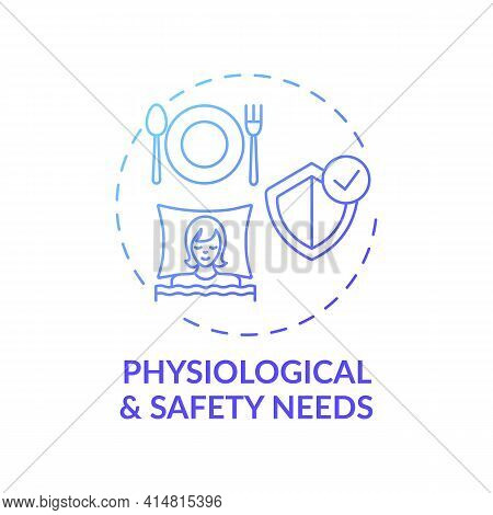 Physiological And Safety Needs Dark Blue Gradient Concept Icon. Maslow System. Mental Attitude. Self