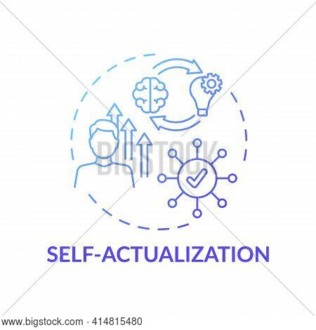 Self Actualization Blue Gradient Concept Icon. Realizing Personal Potential. Self Development And Se