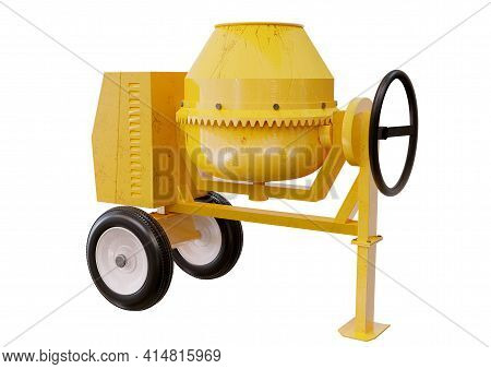 Yellow Concrete, Cement Mixer Machine Isolated On White Background. 3d Illustration