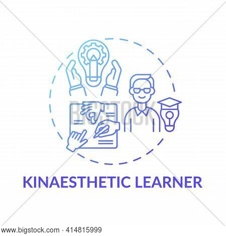 Kinaesthetic Learner Blue Gradient Concept Icon. Tactile Learning. Self Development And Improvement