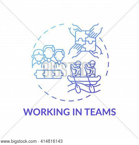 Working In Teams Blue Gradient Concept Icon. Cooperative Effort. Collaboration To Achieve Goals. Sel