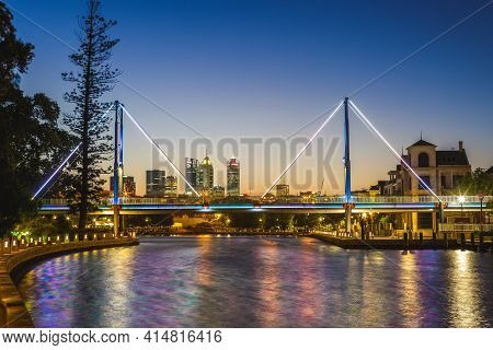Claisebrook Cove And Trafalgar Bridge In Perth, Australia At Night