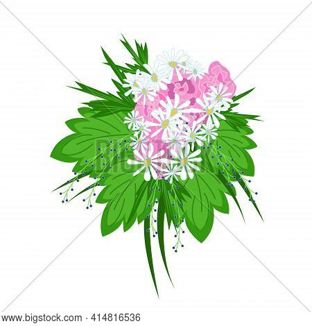 Big Lush Bouquet Of Daisies Decorated With Green Tropical Leaves, Beautiful Flowers As A Gift, Flora