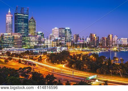 Night Scene Of Perth Skyline, Capital Of Western Australia In Australia