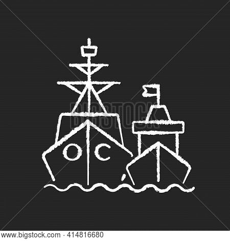 Naval Fleet Chalk White Icon On Black Background. Military Force Unit. Warships Formation In Ocean.