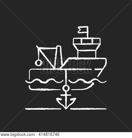 Anchored Ship Chalk White Icon On Black Background. Anchorage. Anchoring Operation. Holding Vessel I